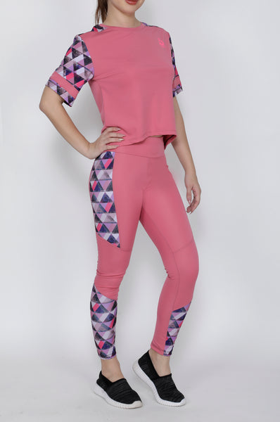 Shop The Look - Crop Top + Tights - Pink Triangles