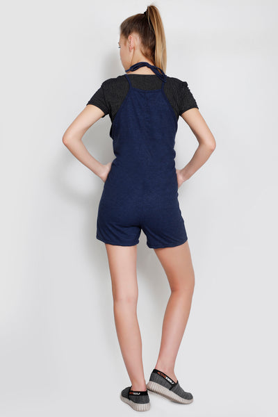 Blue Texture Short Length Jumpsuit