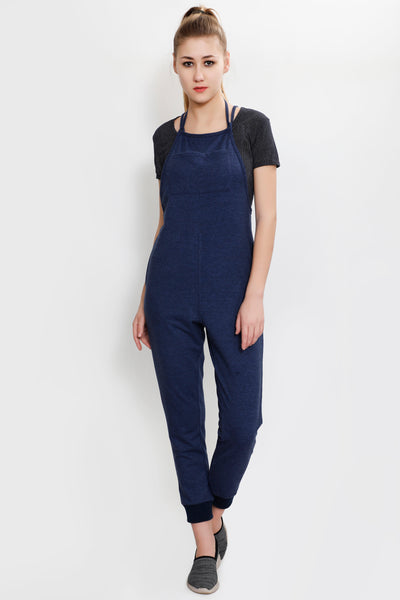 Blue Texture Full Length Jumpsuit