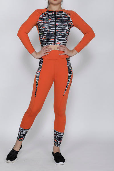 Shop The Look - Crop Zipper + Tights - Orange Black Wavy