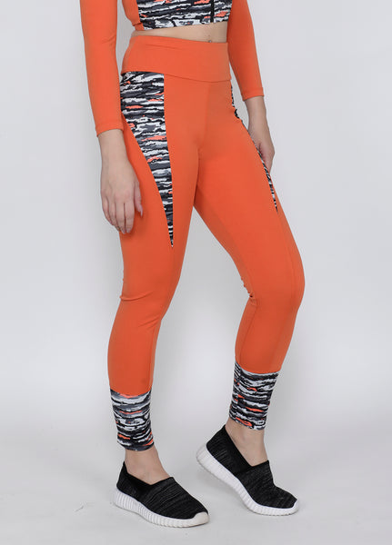 Orange Wavy Convex-Cut Tights