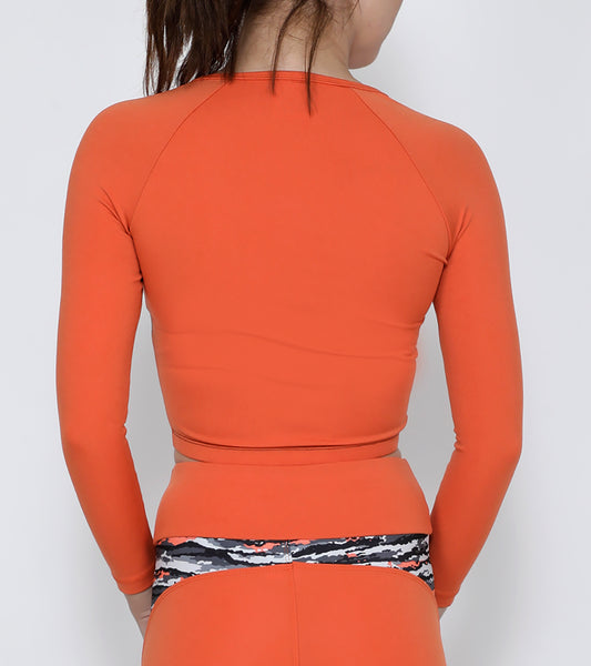 Orange Black Wavy Crop Zipper