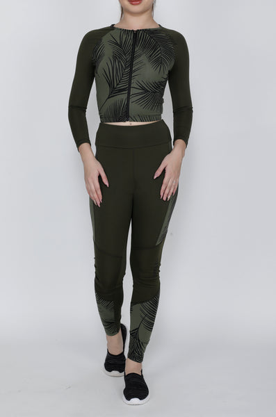 Shop The Look - Crop Zipper + Tights - Olive Leaves