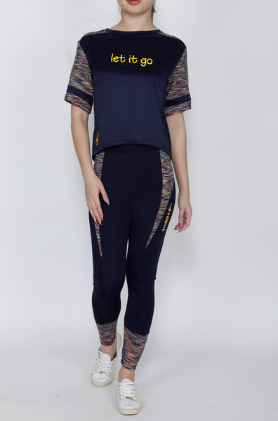 Shop The Look - Crop Top + Tights - Navy Streaks