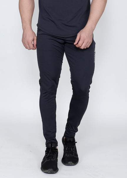 Charcoal Abstract Black Slim-Fit Trackpants