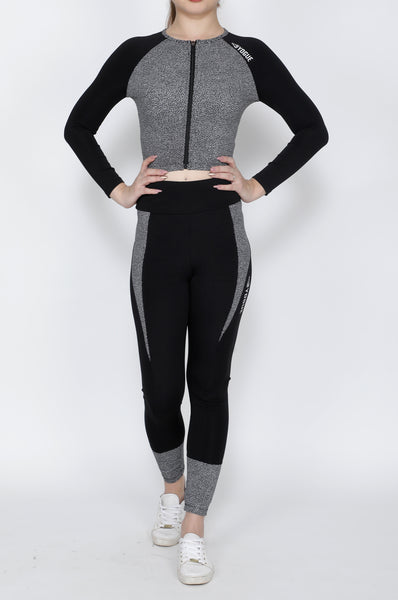 Shop The Look - Crop Zipper + Tights - Black Pebbles