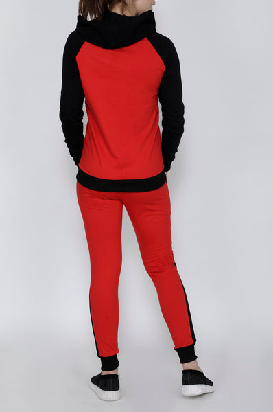 Red and Black Stripes Tracksuit