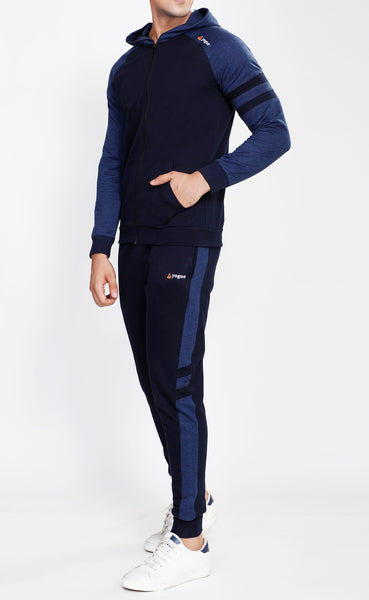 Navy Hooded Tracksuit with Blue Contrast