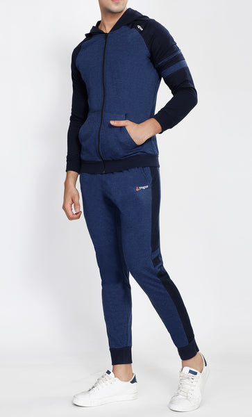 Blue Hooded Tracksuit with Navy Contrast