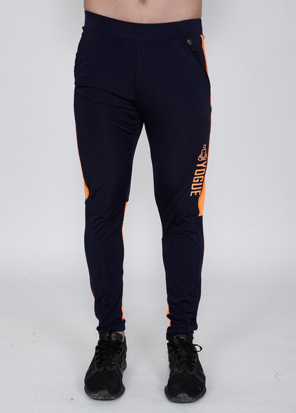 Navy Neon Orange Slim-Fit Trackpants