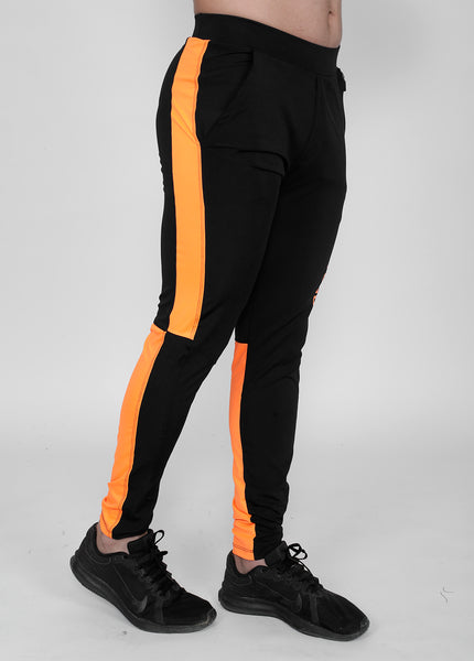 Neon Orange on Black Slim-Fit Trackpants