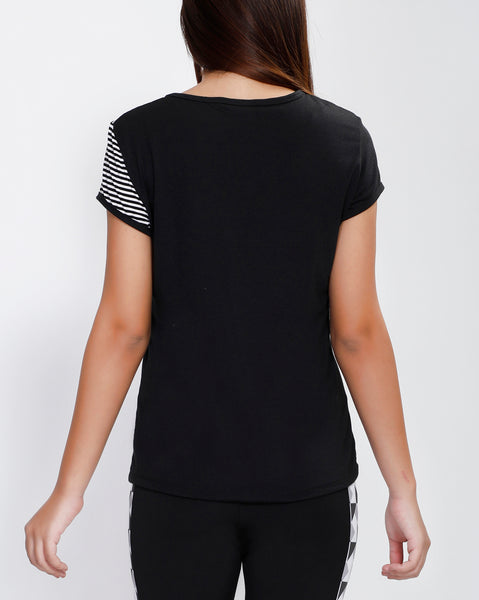 Black White Stripes Oblique T-Shirt