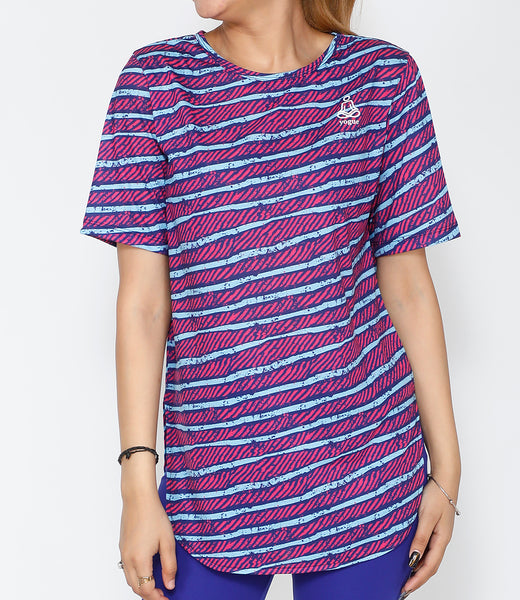Pink Stripes Cotton Longline T-shirt
