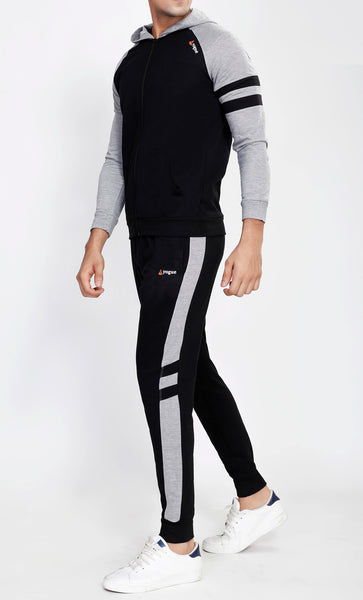 Black Hooded Tracksuit with Grey Contrast