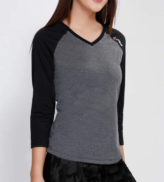 Graphite Grey 3/4th Sleeve Cotton T-Shirt
