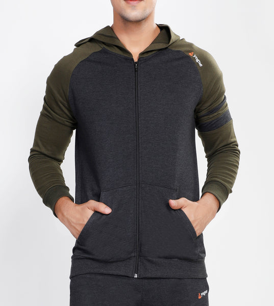 Charcoal Hooded Tracksuit with Millitary Green Contrast