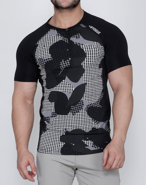 Black & White SquareMesh Compression T-Shirt