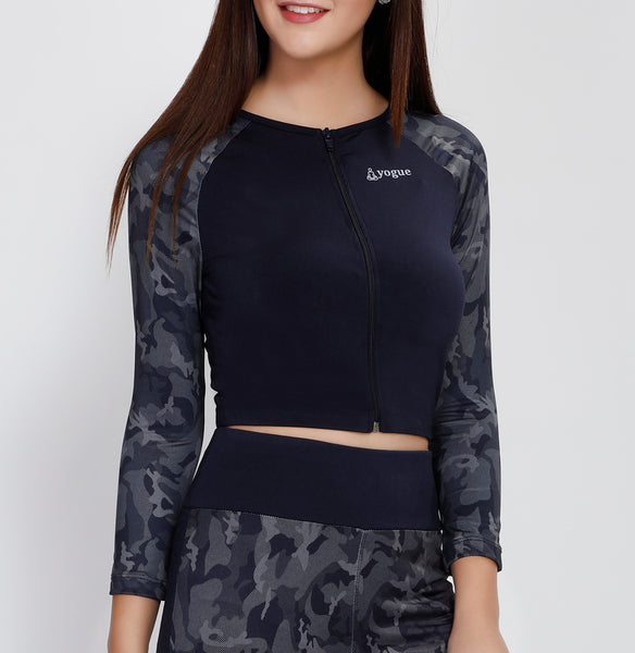 Navy Camo Crop Zipper