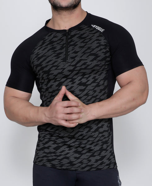 Black Zigzag Dotted Compression T-Shirt