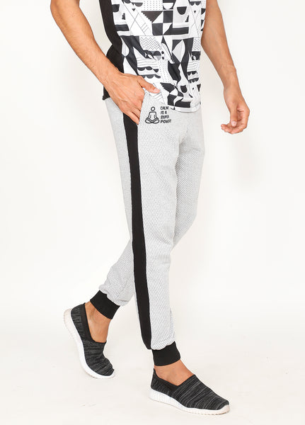 White & Black Terry Joggers