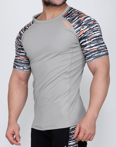 Light Grey & Fierce Black Compression T-Shirt