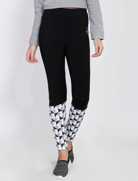 Black White Trigonal 2Tone Tights