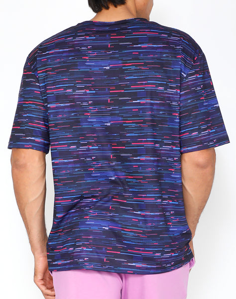 Blue Glitch DropShoulder T-Shirt