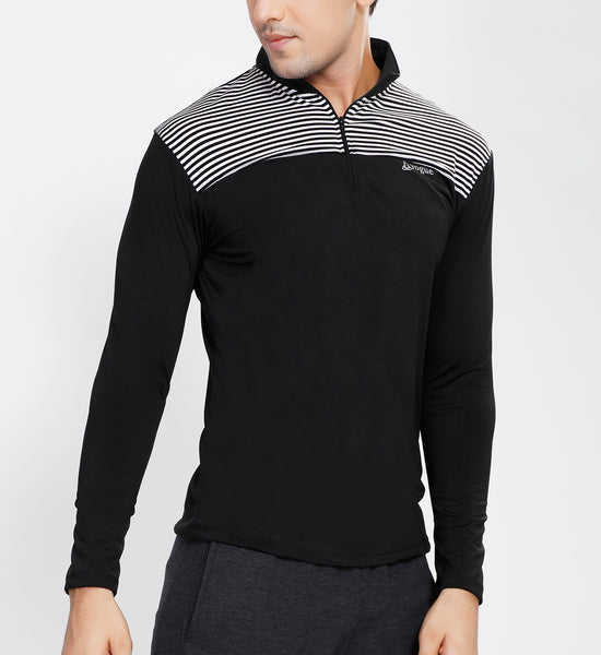Black White Stripes Half Zipper
