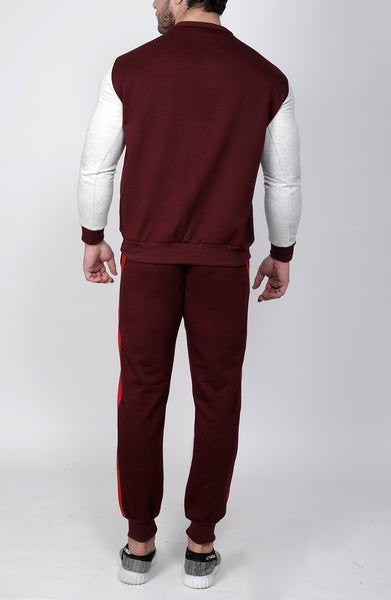 Wine Red & White Crew-Neck Tracksuit