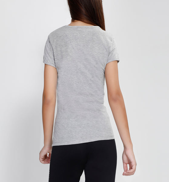 Light Grey Round-neck Cotton T-Shirt