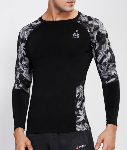 Geometric Black Full Sleeve Compression