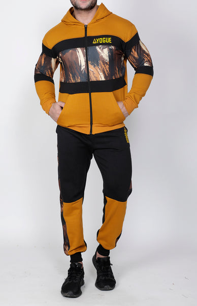Black & Mustard Thermal Tracksuit