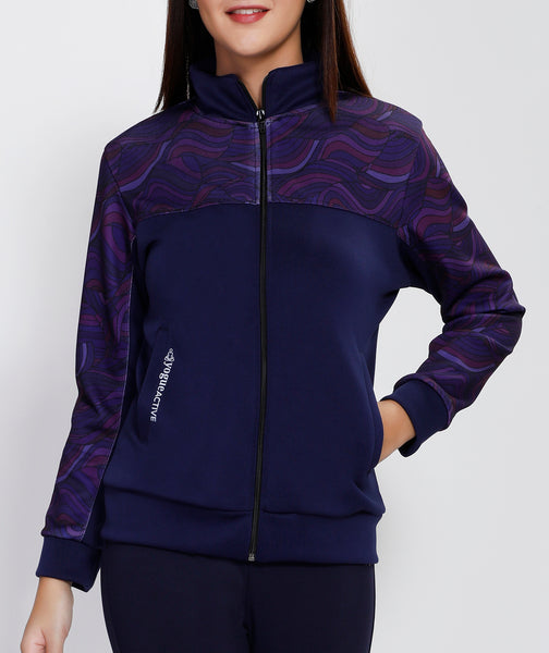 Blue Purple Waves Slim Fit Jacket