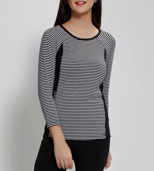 White Stripes Quarter Sleeves Top