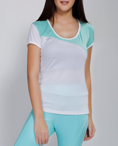 White Green Stripes Oblique  T-Shirt