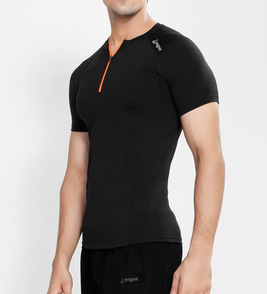 Black Half Zipper Compression T-Shirt