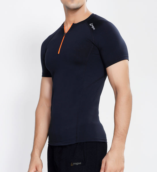 Navy Half Zipper Compression T-Shirt