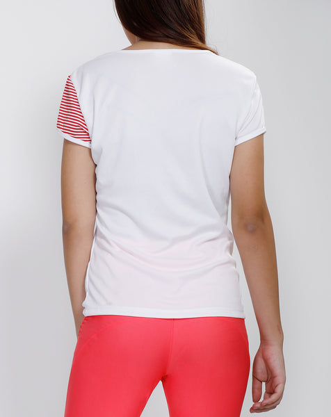 White Red Stripes Oblique  T-Shirt