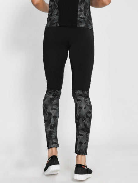 Black Camo Men's Running Tights