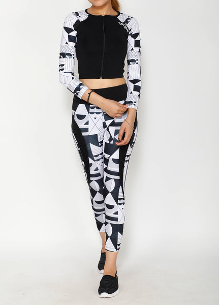 Shop The Look - Crop Zipper Top + Tights - B&W