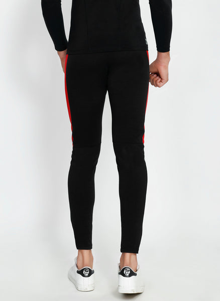 Black Red Men's Running Tights