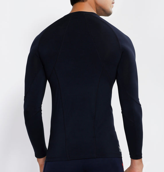 Navy Half Zipper Full Sleeve Compression