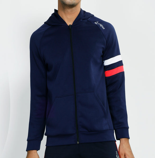 Blue Red White Armband Hooded Jacket