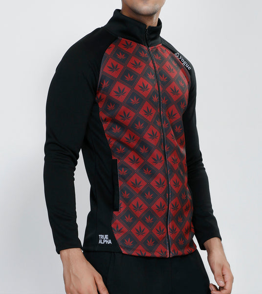 Black Red Peace Slim Fit Jacket