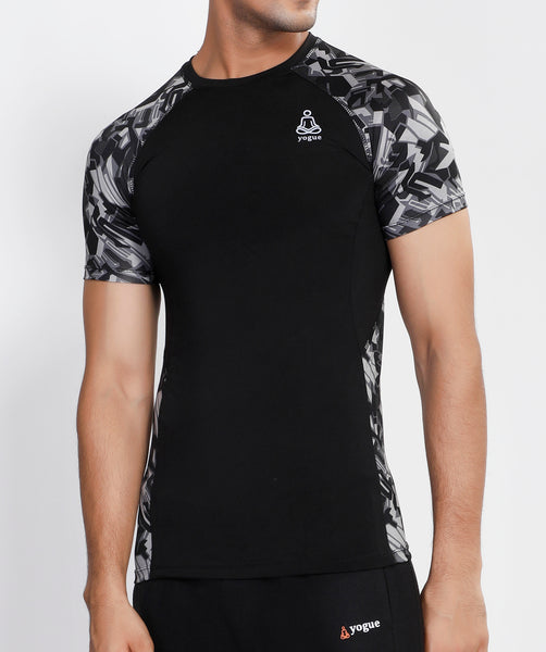 Geometric Black Compression T-Shirt