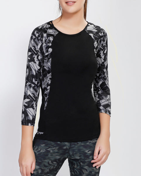Black Grey Abstract Quarter Sleeves Top
