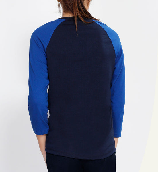 Navy 3/4th Sleeve Cotton T-Shirt