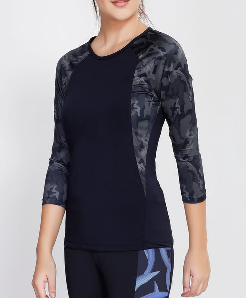 Navy Camo Quarter Sleeves Top