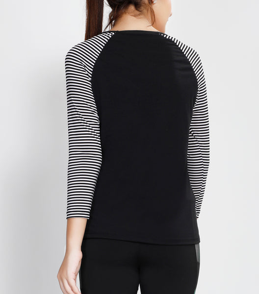 Black White Stripes Quarter Sleeves Top