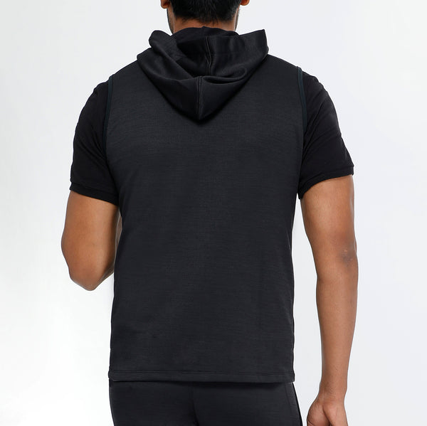 Black Charcoal Grey Sleeveless Hoodie